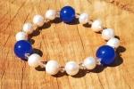 Bracciale con giada, perle d'acqua dolce e swarovski