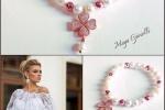 Bracciale con perle e quadrifoglio oro rosa