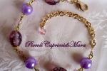 Bracciale con perle in vetro, perle lilla, cristalli rosa