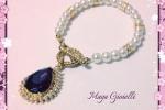 Bracciale in perle con pendente in cristallo e zirconi