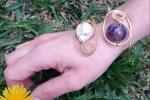 Bracciale di ottone perla e ametista