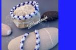 Bracciale ed orecchini coordinati bianchi e blu