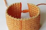 Bracciale in macramé, arancione/ sabbia, regolabile