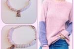 Bracciale in pietre dure placcato oro rosa con dischetti in opale rosa