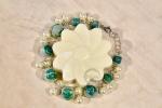 Bracciale perle con rose azzurro verde