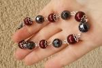 Bracciale perle Swarovski Bordeaux ed Hematite sfaccettate