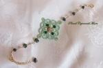 Bracciale verde al chiacchierino, agata, lepidolite