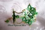 Bracciale verde al chiacchierino, cristalli verdi