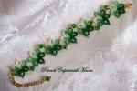 Bracciale verde al chiacchierino, cristalli verdi, perline