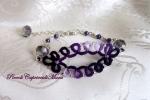 Bracciale viola al chiacchierino, cristalli e perline viola