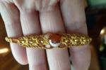 Braccialetto Macramè con Agata e perline dorate