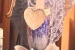 Calice decorato porta candela e cera stile shabby