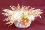 Candele di cera con stoffa, raso e fiori