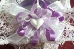 Candele in tela di cotone, veli, rasi e fiori
