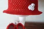 Cappellino e ballerine modello cloche cotone rosso