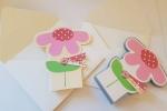 Card festa della mamma con fiore rosa