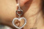 Catenina argento con cuore e orecchini coordinati