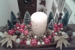 Centro tavola natalizio con candela centrale color panna