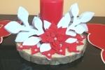 Centrotavola fatto a mano su feltro e abbinato candela