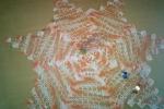 Centrotavola realizzato a uncinetto in cotone sfumato arancione