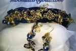 Cerchietto acconciatura ed orecchini  velluto blu scuro , o