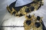 Cerchietto acconciatura nero con orecchini  decorazioni in