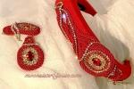 Cerchietto acconciatura rosso lycra orecchini  cristalli e