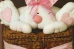 Cesto personalizzato in vimini, o in latta con coniglio