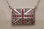 Ciondolo e catenina bandiera Inghilterra in argento rubini