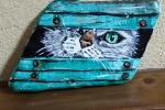 Ciottolo di mare dipinto a mano con gatto