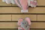 Coccarda fiocco nascita bimba in pannolenci e elefante su mongolfiera