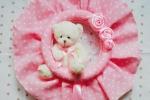 Coccarda nascita Rosa, con peluche e rose
