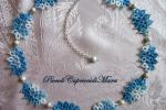Collana azzurra al chiacchierino, perle in Argento 925