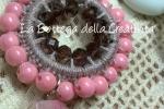 Collana bijoux crochet uncinetto rosa antico 11 cristalli S