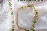 Collana chainmail in Argento 925 dorato e cristalli verdi