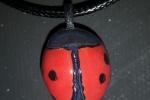 Collana coccinella portafortuna in ceramica