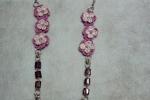 Collana con orecchini con cotone colore glicine e argento