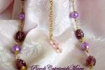 Collana con perle in vetro, perle lilla, cristalli rosa