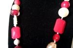 Collana diaspro rosso, vetro, cristallo, ceramit e resina