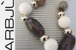 Collana corta girocollo pietre dure bianco grigio-azzurro
