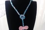 Collana in cotone azzurra e rosa