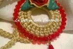 Collana crochet uncinetto oro/rosso cristalli SW 6*8