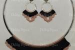 Collana e orecchini in macramè con mezzi cristalli neri