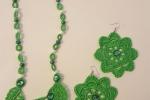 Collana e orecchini uncinetto color verde