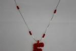 Collana F rossa da gruppi di 3 cristallini rossi
