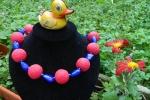 Collana in argilla polimerica: Rosso e blu