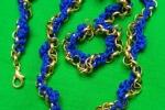Collana in catena in cordino blu
