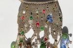 """Collana in macramé """"Olivia"""", color verde oliva con perle varie di vetro."""