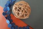 Collana Lunga cartoncino Blu con anellini colore Argento