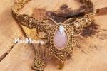Collana macramé boho style con quarzo rosa, boho necklace